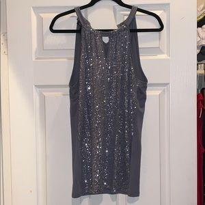 INC silver sequin shirt size L